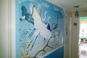 Picture of Herons and Egrets Wall Mural in Hallway