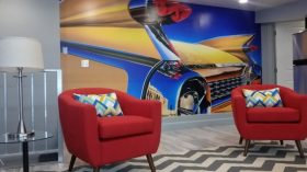 59 Cadillac Eldorado mural installed at Ray's Truck Service and Sailing Hot Rod shop in Spokane Washington.