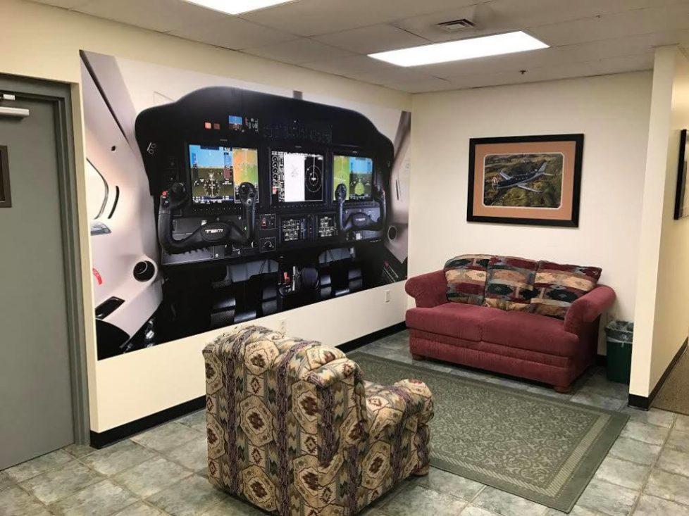 cockpit mural at columbia air services from magic murals