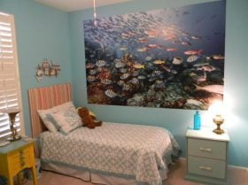 fred b fish mural in grandchild bedroom