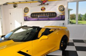 A Magic Mural helps transform a garage into a man cave