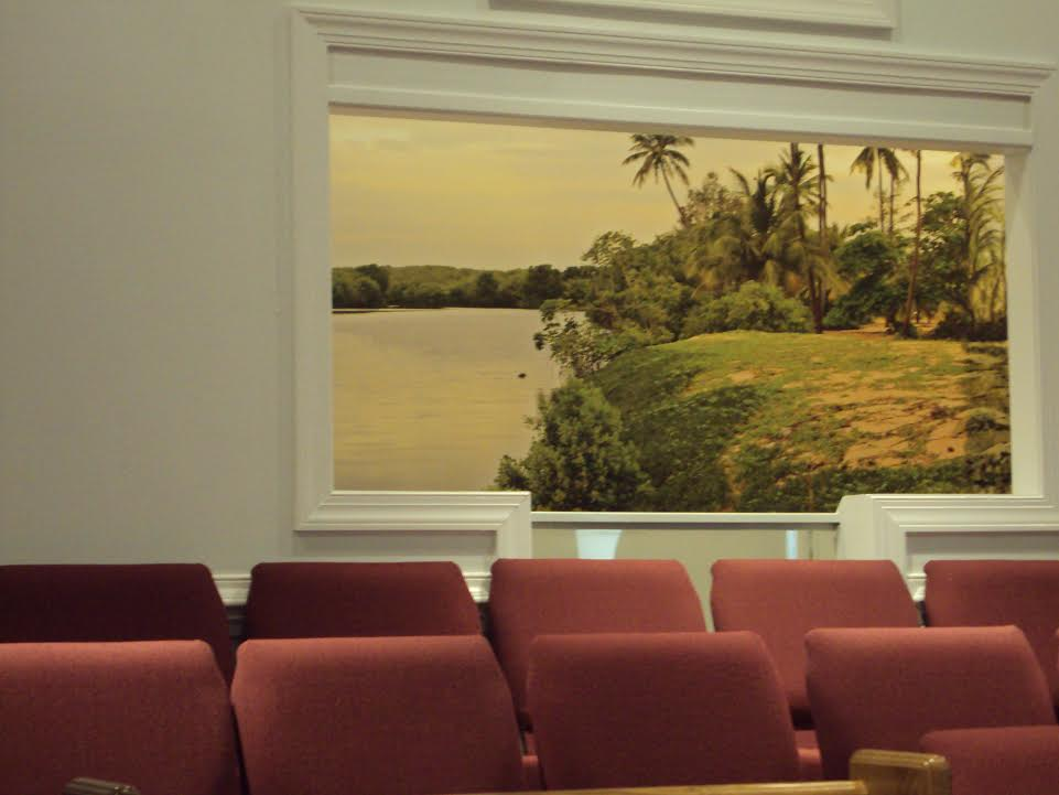 3d baptistry at first baptist church decorating with for Church wall mural