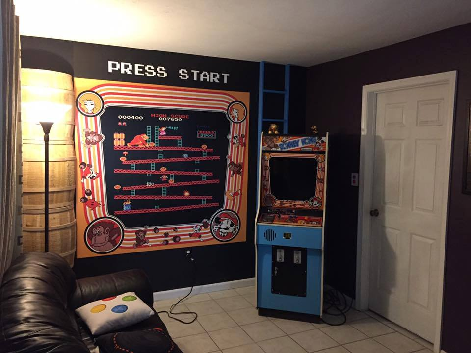 andrew g old school game room custom mural from magic murals