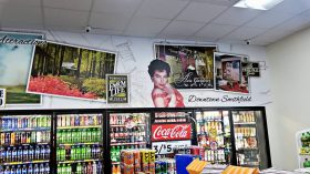 One of many custom murals featuring local scenes created for the New Dixie Mart retailer in Selma, NC.