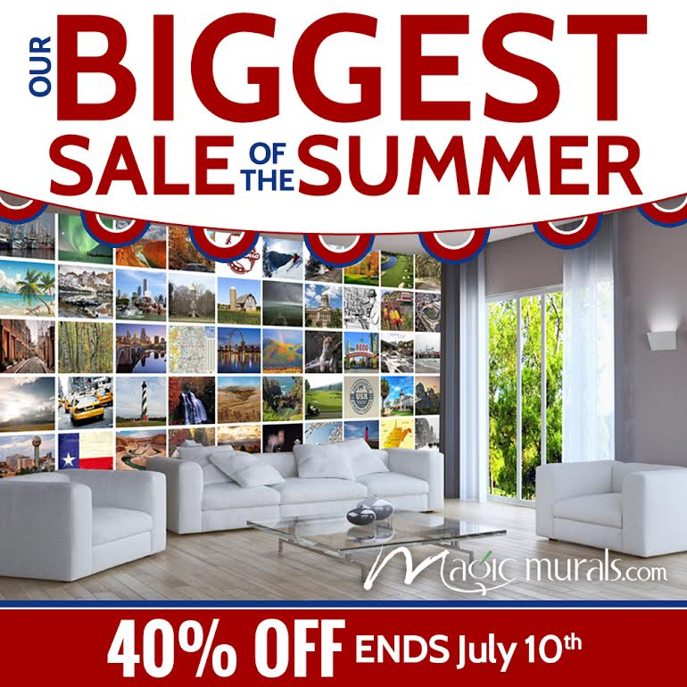 All Wall Murals at 40 Off Regular Prices Now through July 10th