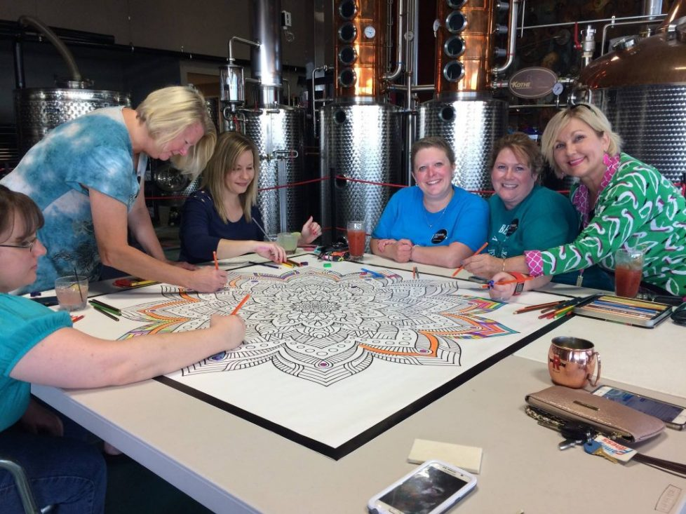The folks from the Pottsboro Area Library in Pottsboro Texas enjoy craft brews and ColorMe adult coloring murals from Magic Murals