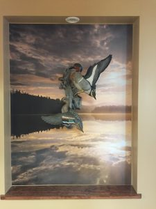 Batesville Dental Duck Carving Backdrop - Dreamy Sunrise over Newcomb Lake Mural by Magic Murals