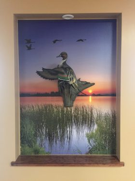 Lake Sunset with Birds Mural Used as Backdrop at Batesville Dental
