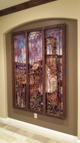But Steve's not done... he bought this mural specifically for a special window frame he already had.