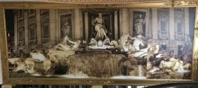 HUGE 8' x 20' Trevi Fountain wall mural in a gilded frame