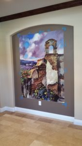 The self-adhesive, peel-n-stick Magic Mural is installed just like wallpaper.