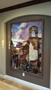 A wooden frame gives this wallpaper wall mural a finished look.