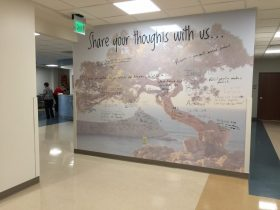 The Share Your Thoughts Dry Erase Wall Mural at Johnston Health's Cardiopulmonary Rehabilitation allows graduates to inspire other patients. Photo by MagicMurals.com