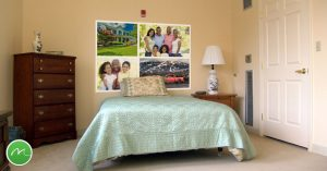 Use family photo murals as a headboard to keep those memories active and create a sense of home.