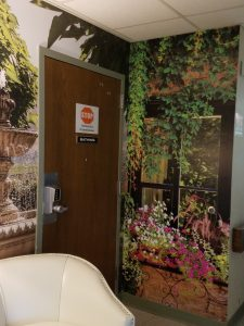 The Wesley Community at Saratoga Springs, NY installed some beautiful Magic Murals featuring water and garden motifs outside of the Bathing Room in their Alzheimer's unit.