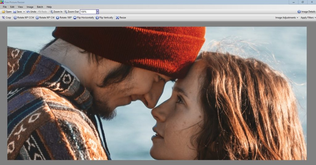"""By changing from """"Fit To Screen,"""" to """"100%,"""" we can see the details of the image in the size we want to print. Nice looking couple. Very natural."""