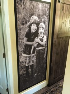 Wallpaper murals can go anywhere. These kids love hanging on grandma's door.