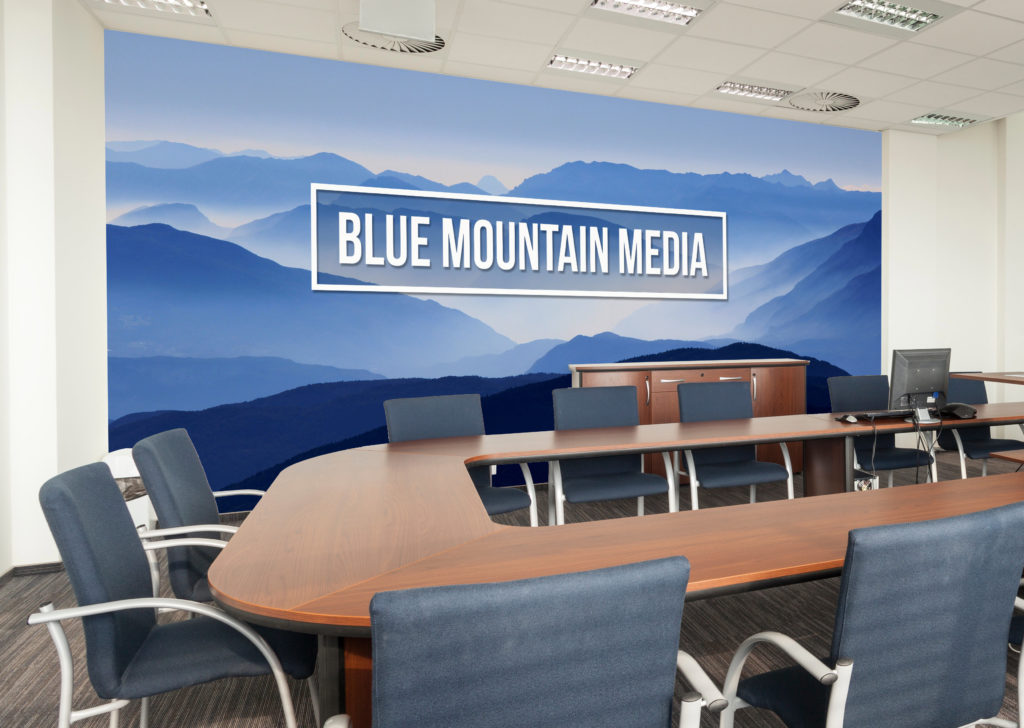Take advantage of every opportunity to get your brand front and center. A mural like this improves employee moral and makes a great impression during a video conference.