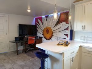 You may not have a dedicated home office. With bold décor like this, who cares if the desk is in the kitchen? With just a little shifting of the camera, no one will ever know where you are. Mural by Magic Murals.