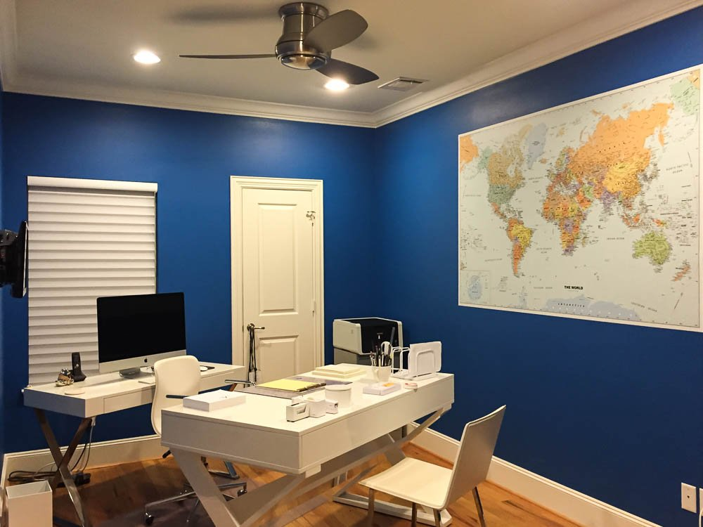 World maps are very popular videoconferencing backgrounds in home offices. Not only do they look good, but they present a very global presence to others. Even if you're not wearing pants. Mural by Magic Murals (where we do wear pants).