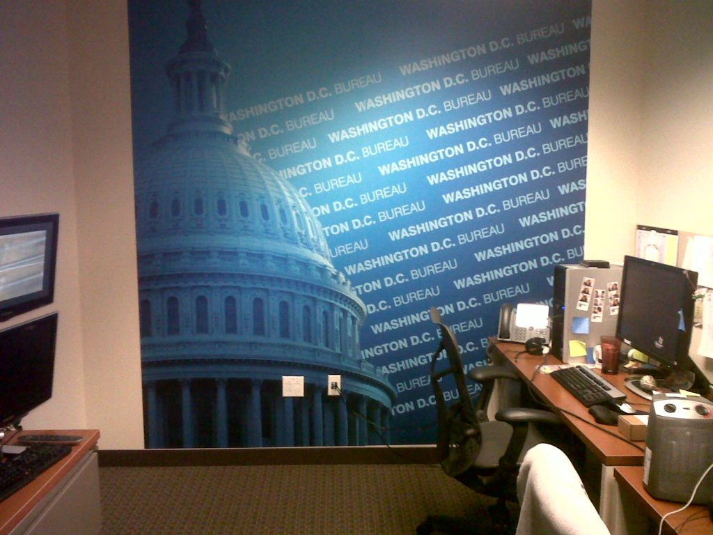 There's always a great looking background at the offices of NY1 News in Washington, D.C. Mural by Magic Murals.