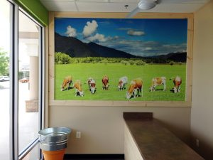 When you first walk into New Jersey's Society of Burgers restaurant, this wall mural featuring happy cows leaves no doubt that the food is fresh.