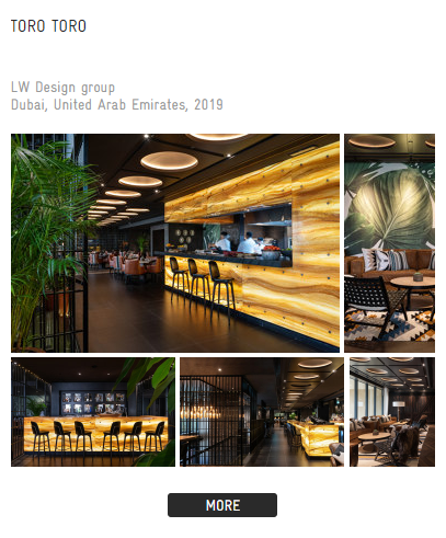 This is an example of the restaurant design previews you'll find in the architonic collections. When you click on the links, you'll find dozens of pictures and a design profile provided by the design firm.