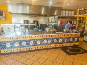 The Mediterranean Sandwich Company stores feature beautiful tile decorations... that are actually wall murals!