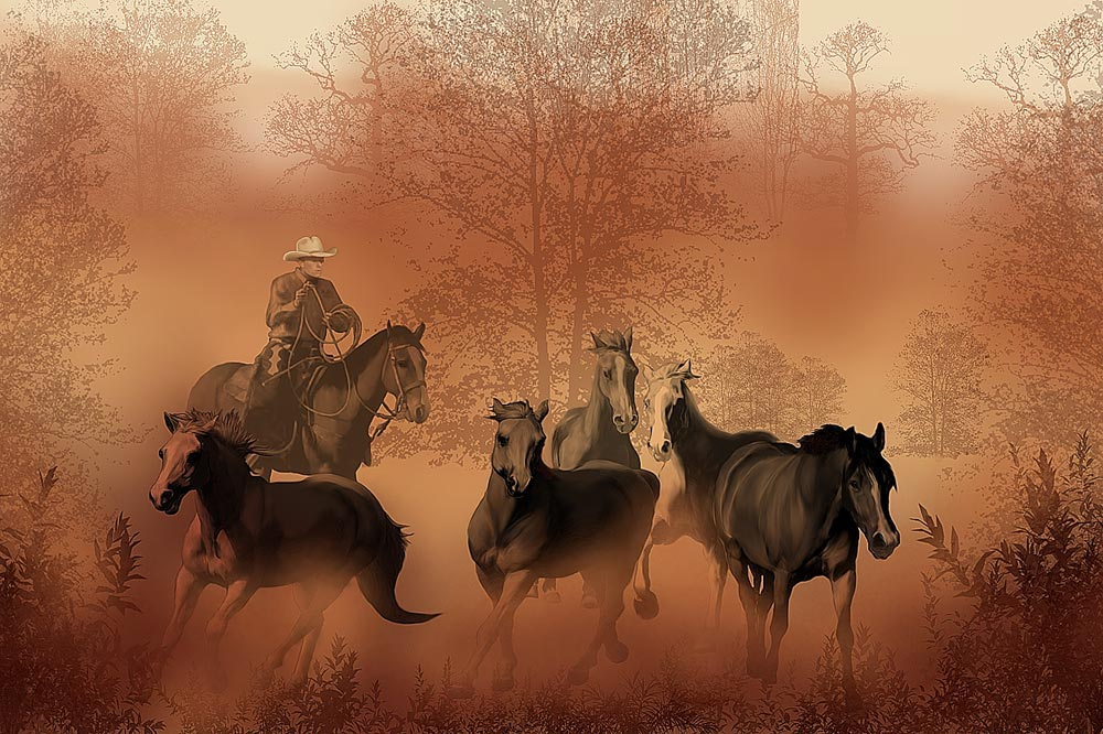 Cowboy wall decals tktb for Cowboy wall mural