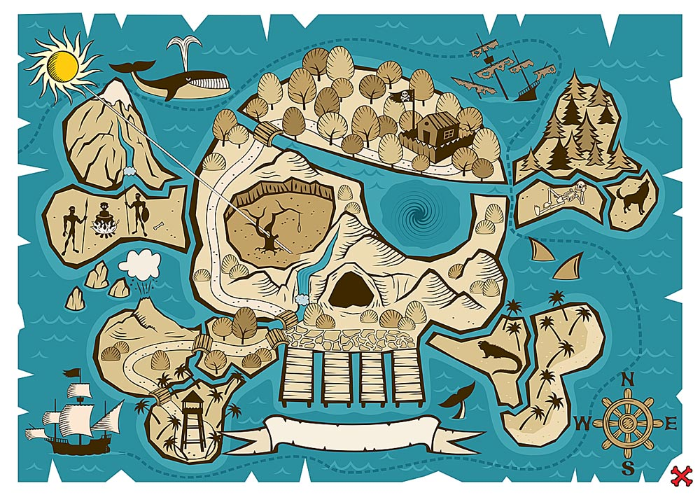 Custom Size Skull and Bones Treasure Map Mural