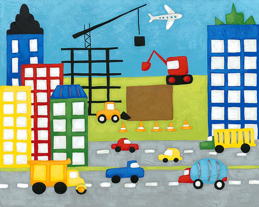 Construction wall decals tktb for Construction site wall mural