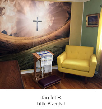 Light of the Cross Religious mural in inspirational prayer room with yellow chair and kneeling bench