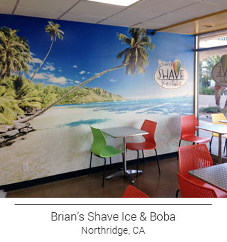 Brian's Shave Ice & Boba cafe tropical beach mural for the dining area