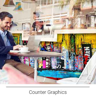 graphics and murals that can be installed on your checkout counter, counter wraps