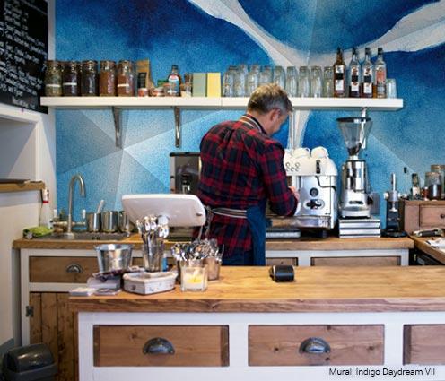 coffee bar prep area bright blue indigo daydream vii mural brightening up your workspace