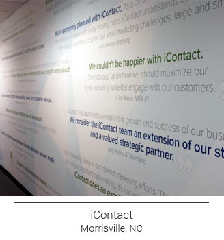 iContact Wall Mural featuring quotes, reviews, testimonials from customers making an impactful and motivating wall in the office