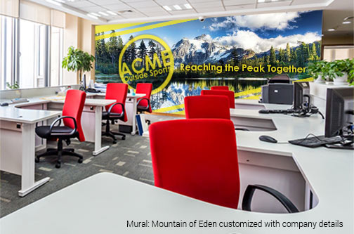 Inspiring Office Mural featuring Mountain of Eden landscape customized with company logo and slogan