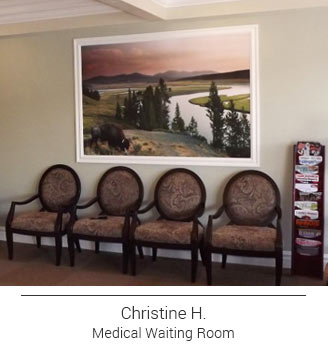 colorful sunset mountain scene with winding river mural framed out with white trim for effective large format art in a waiting area