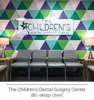 custom designed colorful purple, teal, green, gray patterned mural in dental office waiting room