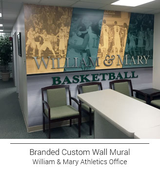 golden yellow and teal subdued sports themed mural in athletics office