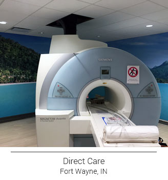Direct Care in Fort Wayne Indiana installed a mood enhancing tropical beach mural in their MRI room with green trees and a gradient of aqua blue crisp ocean waters