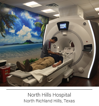North Hills Hospital in Texas MRI room tropical beach mural
