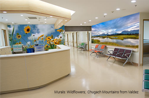 Hospital hallway, corridor, nurse station wall murals that features bright yellow wildflowers against a bright blue sky and the Chugach Mountains from Valdez landscape scene where a photo captures the still body of water reflecting a falling blue toned night sky over a distant mountain range
