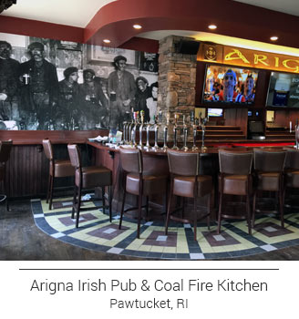 Arigna Irish Pub and Coal Fire Kitchen of Pawtucket Rhode Island's grayscale vintage bar mural