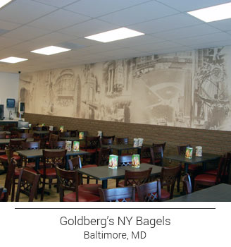 Goldberg's NY Bagels Baltimore Maryland location custom designed sepia wallpaper featuring local landmarks