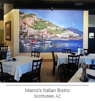 Marco's Italian Bistro of Scottsdale, Arizona's custom dining room wall mural featuring the stunning coast of Amalfi, Italy