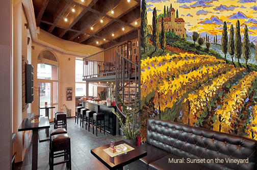 Restaurant, Bar, Lounge, Cafe, Bistro booth backdrop Sunset on the Vineyard wall mural showing rolling hills of a vineyard in shades of yellow and an beautiful home further off in the distance