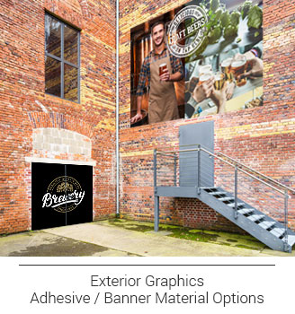 exterior wall graphics, adhesive branded brewery door murals, custom craft beer brewery large format banner showing brewer, hops and group of friends clinking their glasses together in celebration