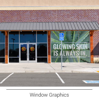 window graphics advertising beauty store themed aloe plant graphics that says glowing skin is always in and contour cut door logo graphics