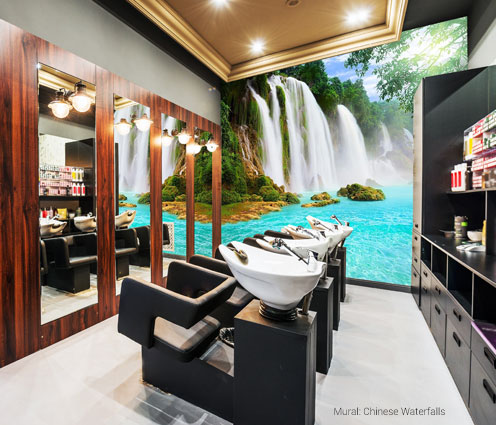 Chinese Waterfalls wall mural brightening up the shampoo, color station in a barber shop or salon